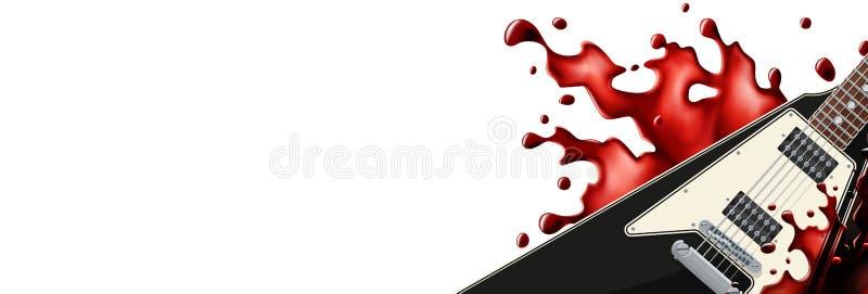 Schwarze Metallgitarre mit einer Blutspritzen-Fahnenschablone mit weißem Hintergrund stock abbildung