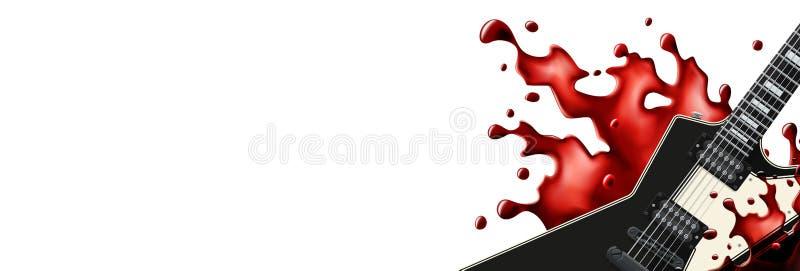 Schwarze Metallgitarre mit einer Blutspritzen-Fahnenschablone mit weißem Hintergrund lizenzfreie abbildung