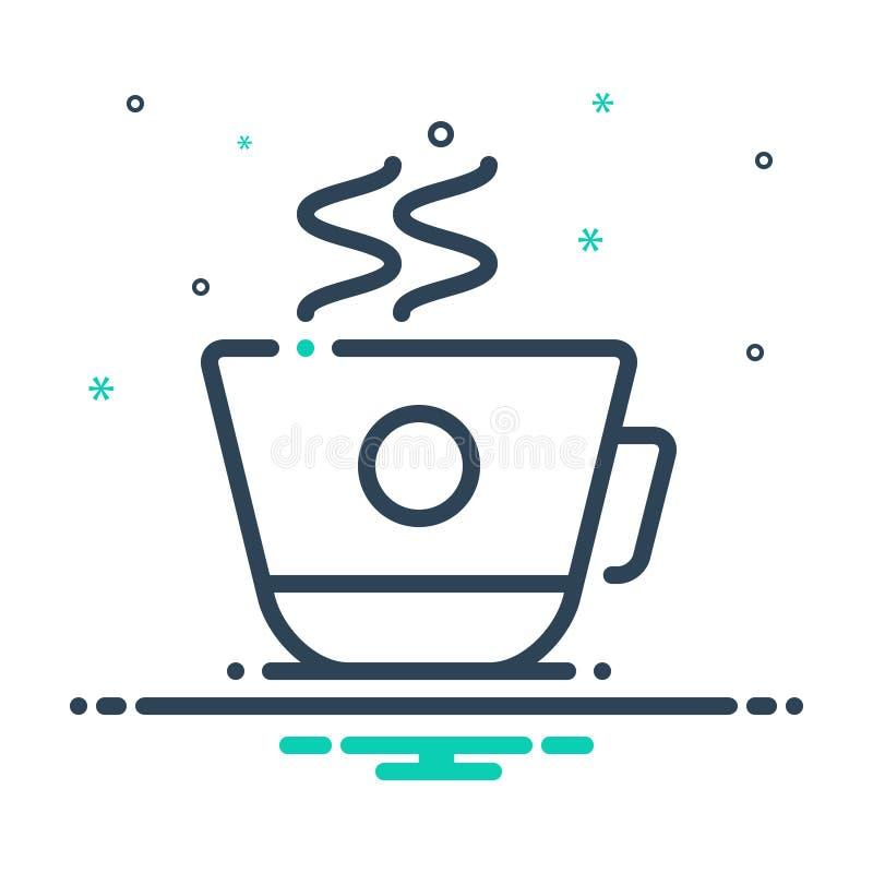 Schwarze Mischungsikone für Kaffeetasse, Decaf und Erfrischung lizenzfreie abbildung