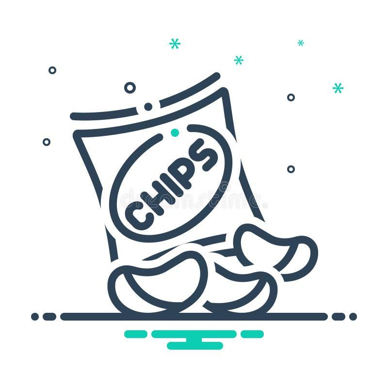 Schwarze Mischungsikone für Kartoffelchips, gebraten und klar lizenzfreie abbildung