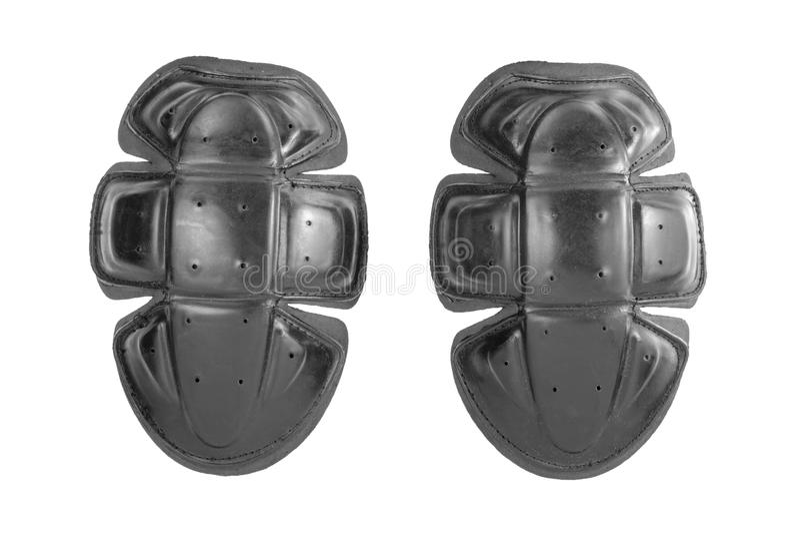 schwarze Motorradschulter-Schutzrüstung, Plastikmotorradschutzschutze, Sicherheit für den Schutzkörper lokalisiert im weißen back stockfotos