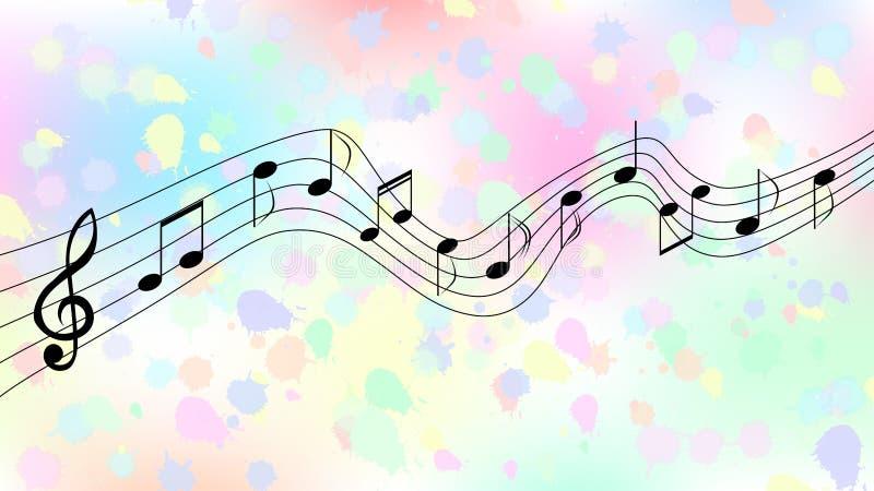 Schwarze Musik merkt im bunten Spritzen und spritzt Hintergrund lizenzfreie abbildung