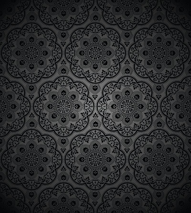 schwarze tapete mit muster wei farbigen blumen paisley nahtlose muster hintergrund mit. Black Bedroom Furniture Sets. Home Design Ideas