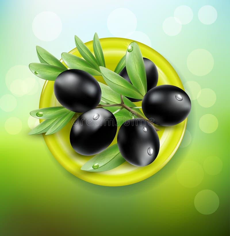schwarze Oliven auf einer grünen Platte lizenzfreie abbildung