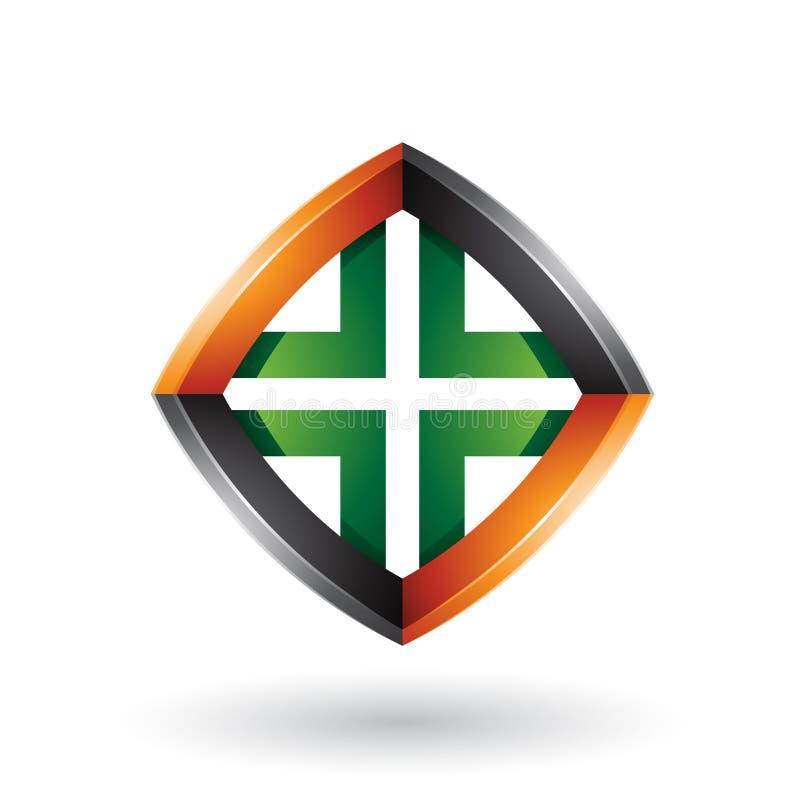 Schwarze Orange und grüner verdrehter Diamond Shape lokalisiert auf einem weißen Hintergrund lizenzfreie abbildung