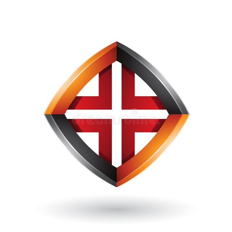 Schwarze Orange und roter verdrehter Diamond Shape lokalisiert auf einem weißen Hintergrund vektor abbildung