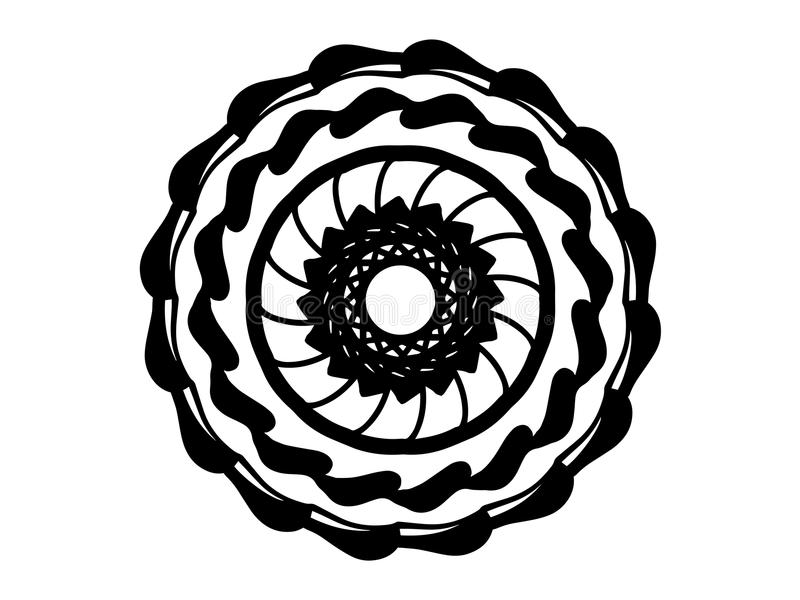 Schwarze orientalische Mandala auf weißem Hintergrund Mandala mit Bewegungsillusionsvektor Runde Stempelschablone vektor abbildung