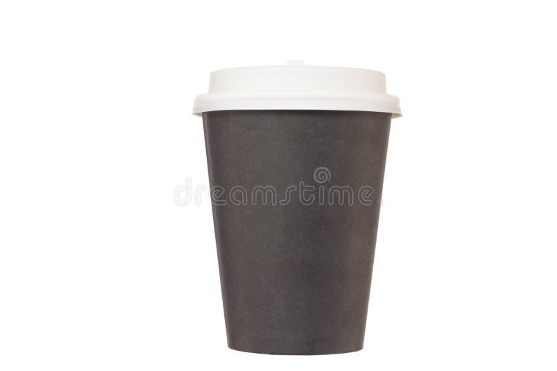 Schwarze Pappschale für Mitnehmerkaffee mit einem weißen Plastikli lizenzfreie stockfotos