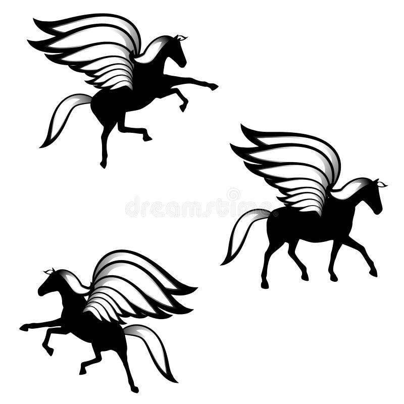 Schwarze Pegasus Winged Pferden-Schattenbilder lizenzfreie abbildung