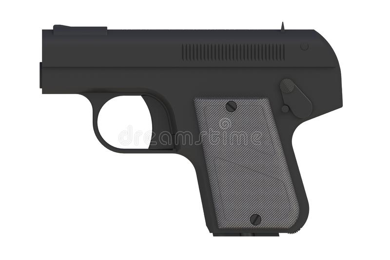 Schwarze Pistole auf weißem Hintergrund stock abbildung