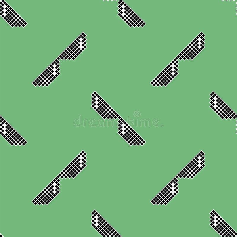 Schwarze Pixel-Sonnenbrille-nahtloses Muster lizenzfreie abbildung