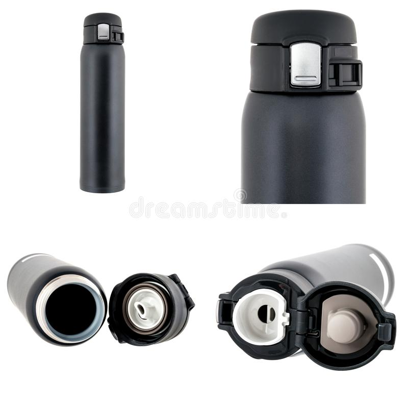 Schwarze Plastikthermosflasche lokalisiert auf Weiß stockbild