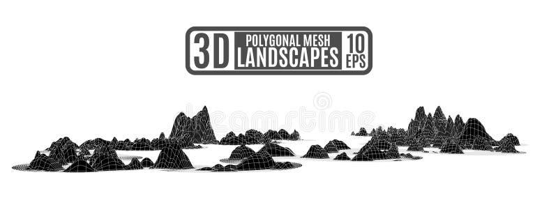 Schwarze polygonale Berge in der Computerentlastungsart für eine Darstellung stock abbildung