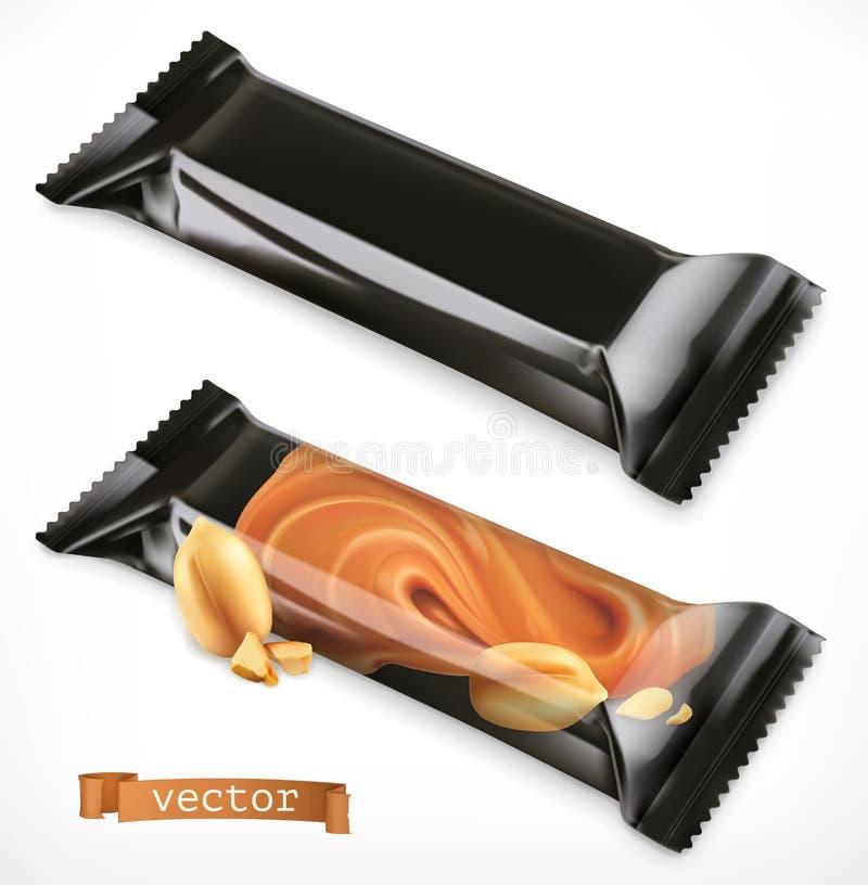 Schwarze Polymerverpackung für Nahrungsmittel Schokoriegel, Ikone des Vektors 3d vektor abbildung