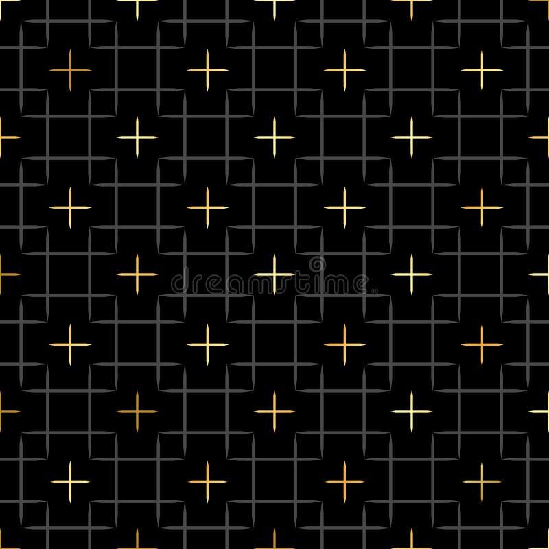 Schwarze Quadrate und Gold spielen geometrisches Muster in der Wiederholung die Hauptrolle Gewebedruck Nahtloser Hintergrund, Mos vektor abbildung