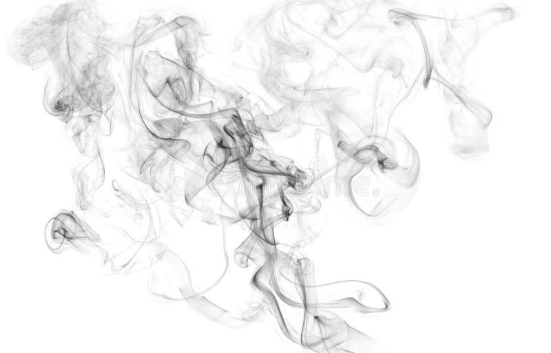 Schwarze Rauchbeschaffenheit auf lokalisiertem weißem Hintergrund stockfotos
