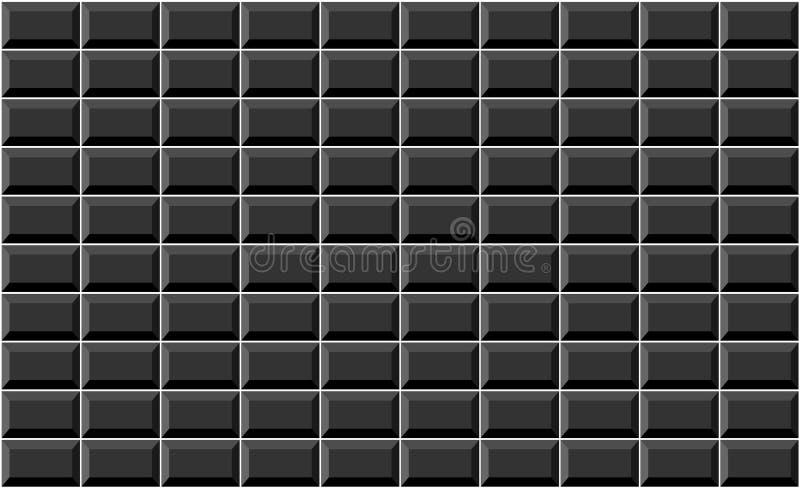 Schwarze Rechteckwandmuster mit weißem Fliesenbewurf stockbild