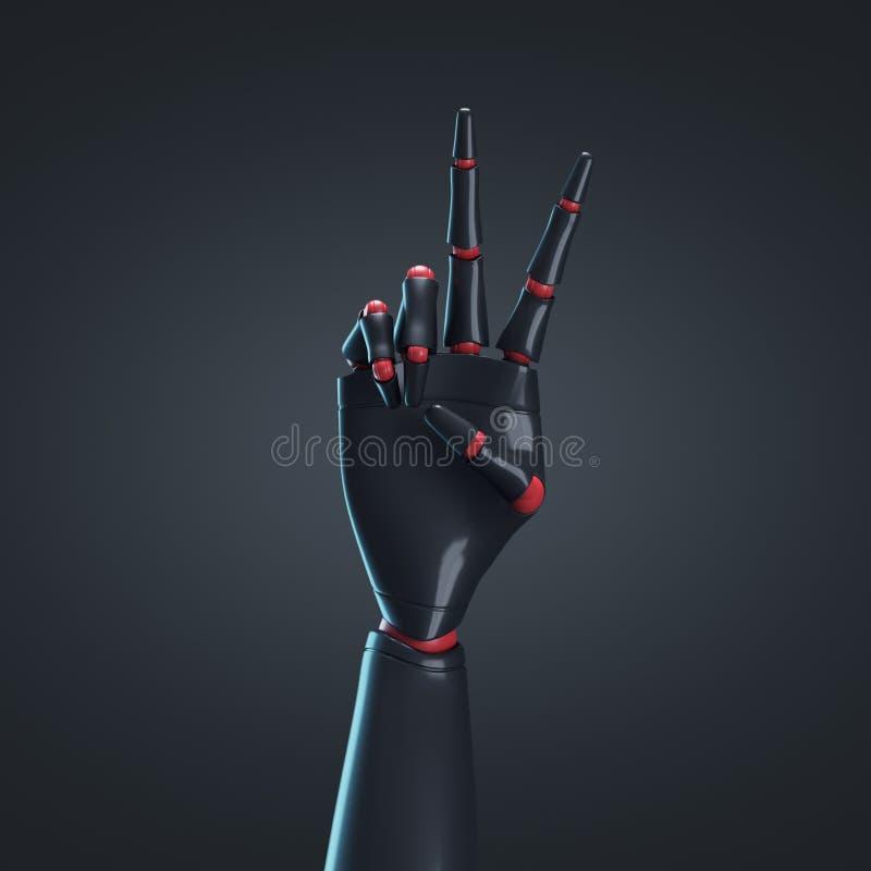 Schwarze Roboterhand, schwarzer Hintergrund vektor abbildung