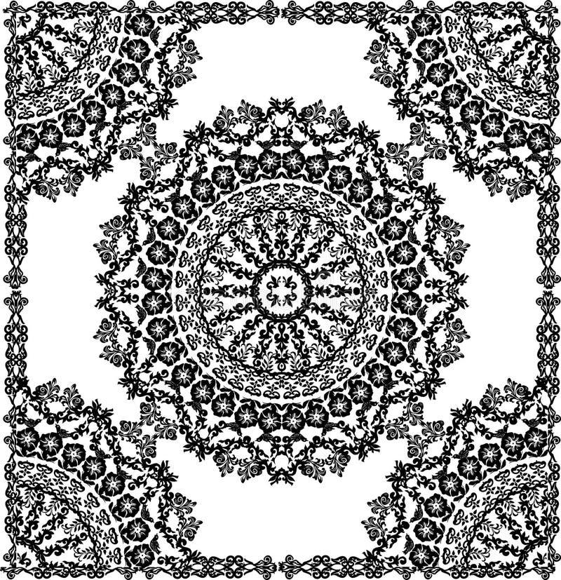 Schwarze runde Dekoration im Feld stock abbildung