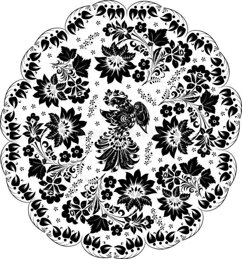 Schwarze runde Dekoration mit Vogel lizenzfreie abbildung