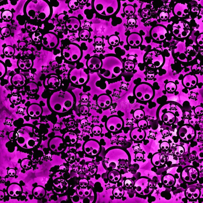 Schwarze Schädel auf rosafarbenem Hintergrund vektor abbildung