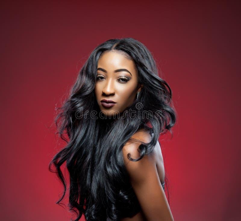 Schwarze Schönheit mit dem eleganten gelockten Haar stockbild