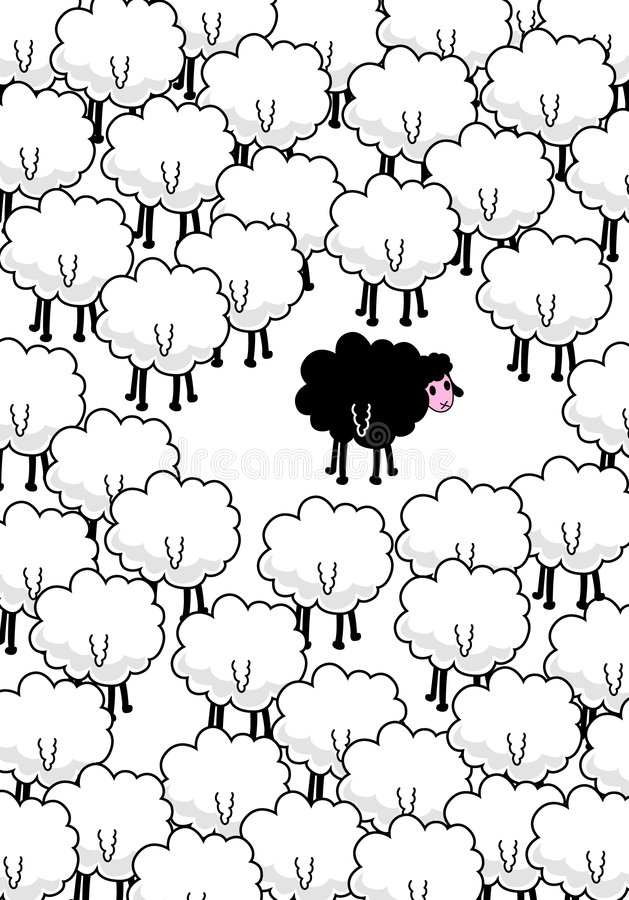 ? schwarze Schafe in der Mitte. vektor abbildung