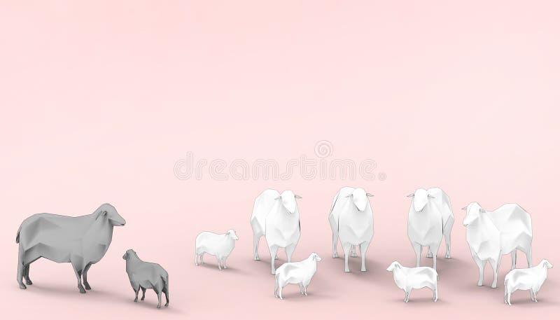 Schwarze Schafe weiße Schaf-Familien-Gruppen-in der niedrigen Polykonzept-modernen Kunst und im zeitgenössischen modernen rosa Pa stock abbildung