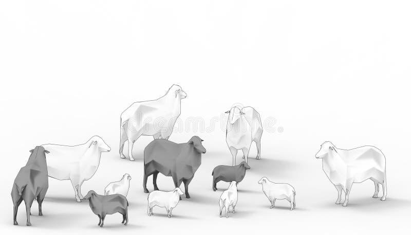 Schwarze Schafe weiße Schaf-Familien-Gruppen-in der niedrigen Polykonzept-modernen Kunst und in zeitgenössischem modernem lokalis lizenzfreie abbildung