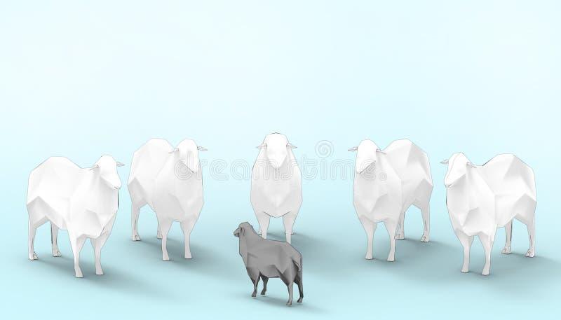Schwarze Schafe weiße Schaf-Gruppen-in der niedrigen Polykonzept-modernen Kunst und im zeitgenössischen modernen blauen Pastenhin vektor abbildung