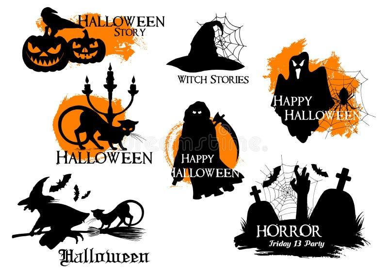 Schwarze Schattenbildelemente für Halloween-Dekoration stock abbildung
