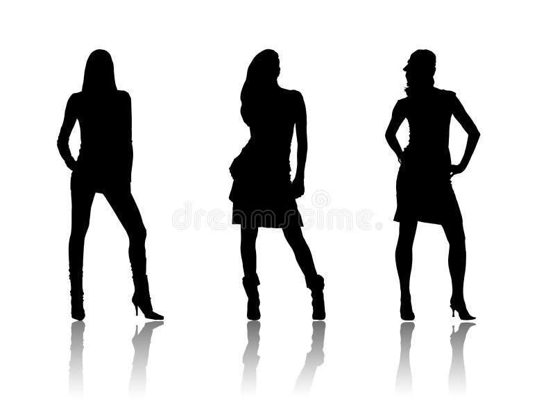 Schwarze Schattenbilder der Frauen lizenzfreie abbildung