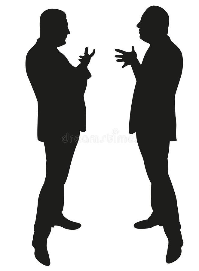 Schwarze Schattenbilder der Stellung mit zwei Männern lizenzfreie abbildung
