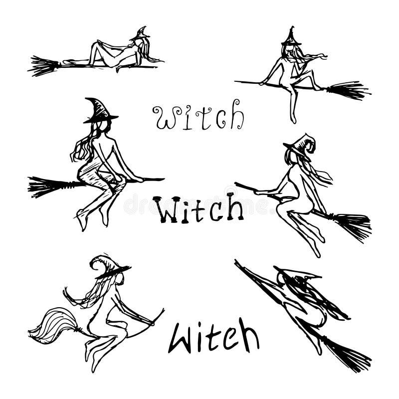 Schwarze Schattenbilder mit Hexen stellen Sie von den Attributen ein lizenzfreie abbildung