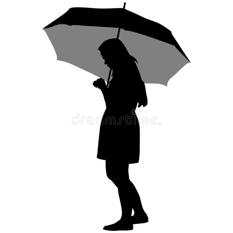 schwarze schattenbilder von frauen unter dem regenschirm