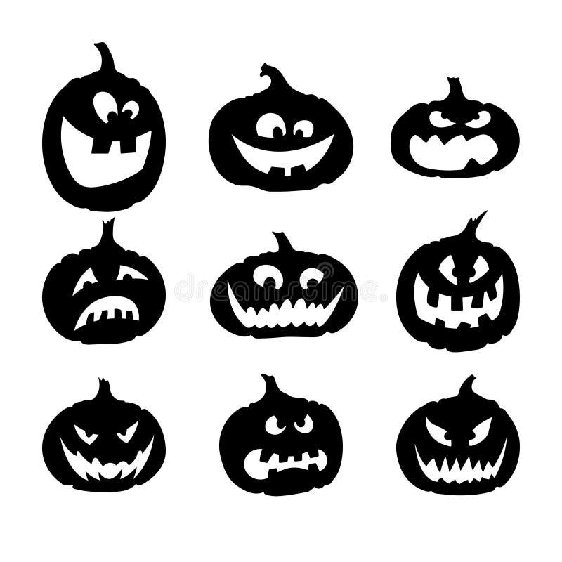 Schwarze Schattenbilder von Kürbisen für Halloween Ikonen von Gefühlen auf einem weißen Hintergrund Sammlung Monster Emoticons lizenzfreie abbildung