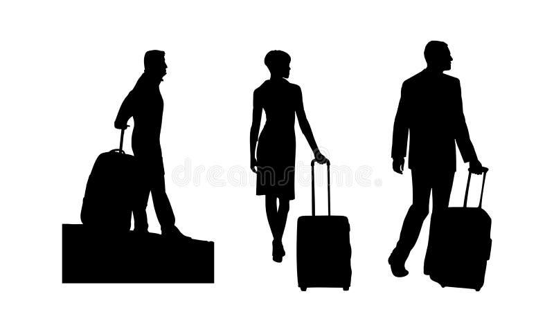Schwarze Schattenbilder von Leuten mit Gepäck Männer mit einem Koffer Eine Frau mit einem Koffer lizenzfreie abbildung