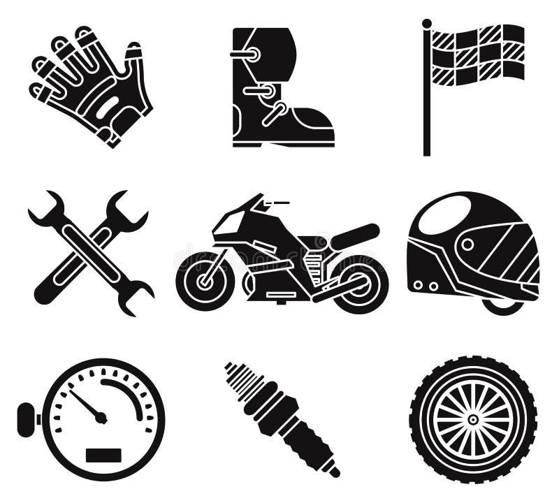 Schwarze Schattenbildfahrradrennsportmeisterschaftsmotocrossmotorrad-Fahrzeugikonen stellten lokalisiert auf weißem Hintergrundve lizenzfreie abbildung