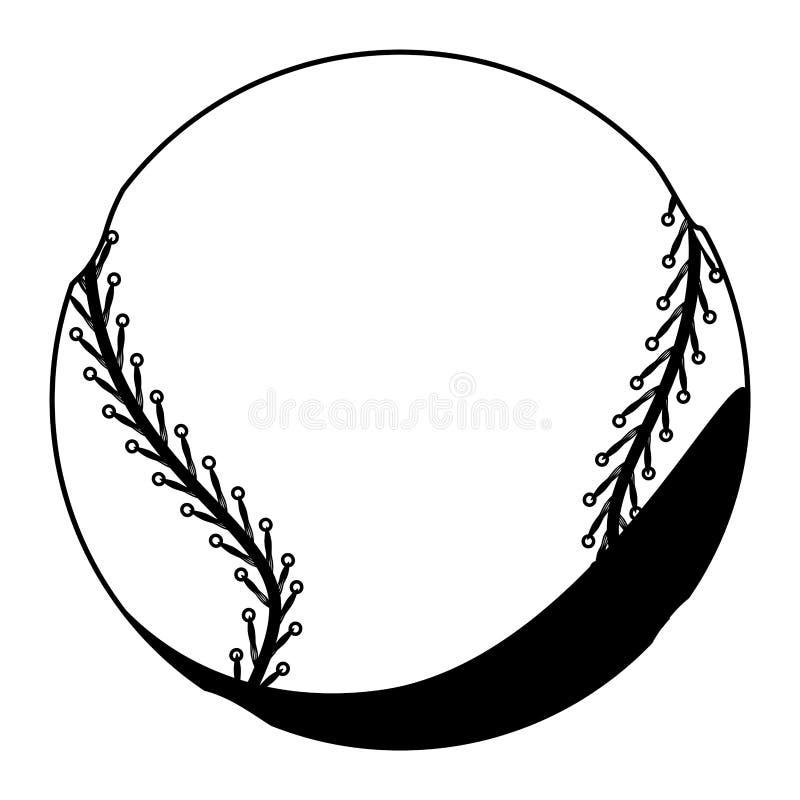 Schwarze Schattenbildfarbe mit Baseballball lizenzfreie abbildung