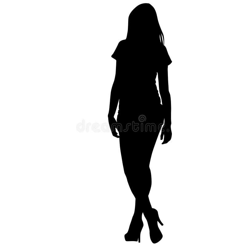 Schwarze Schattenbildfrauenstellung, Leute auf weißem Hintergrund lizenzfreie abbildung
