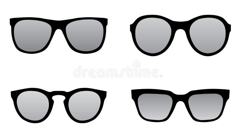 Schwarze Schattenbildillustration der Sonnenbrille stockfoto