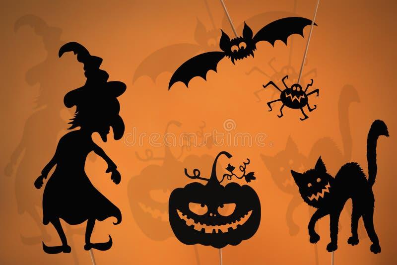 Schwarze Schattenmarionetten von Halloween-Geschöpfen stockbilder