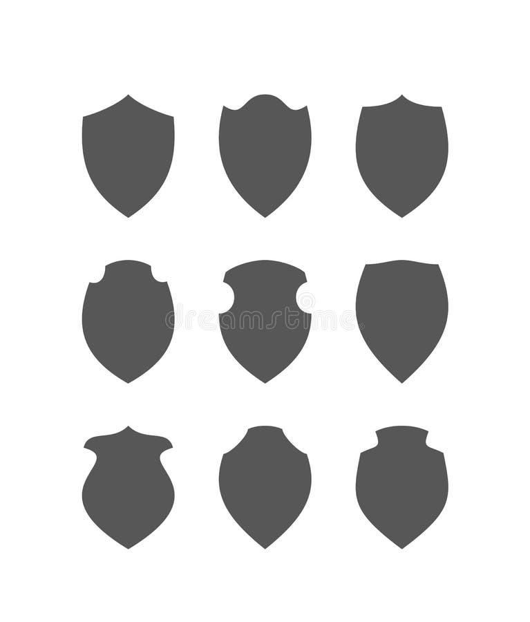 Schwarze Schilder eingestellt stock abbildung