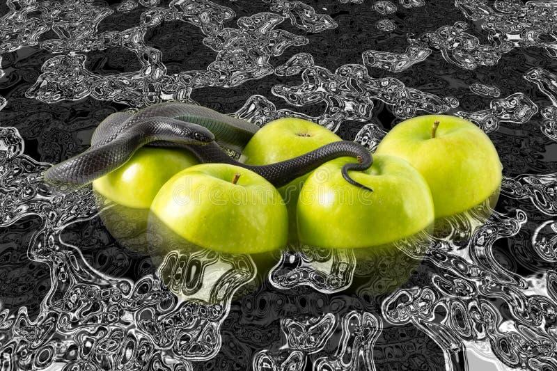 Schwarze Schlange und Äpfel, die in Treibstoff schwimmen lizenzfreie stockbilder