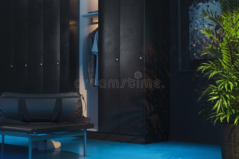 Schwarze Schließfächer mit schalten-auf Licht im Umkleideraum in der Turnhalle Wiedergabe 3d stock abbildung