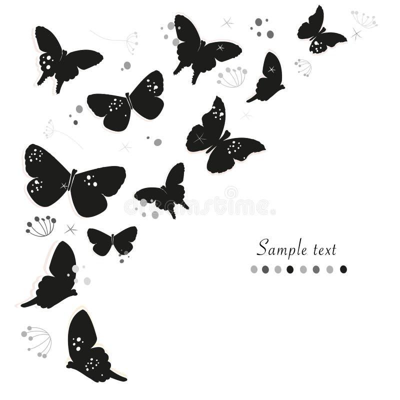 Schwarze Schmetterlinge entwerfen und extrahieren dekorativen Blumengrußkarten-Vektorhintergrund vektor abbildung