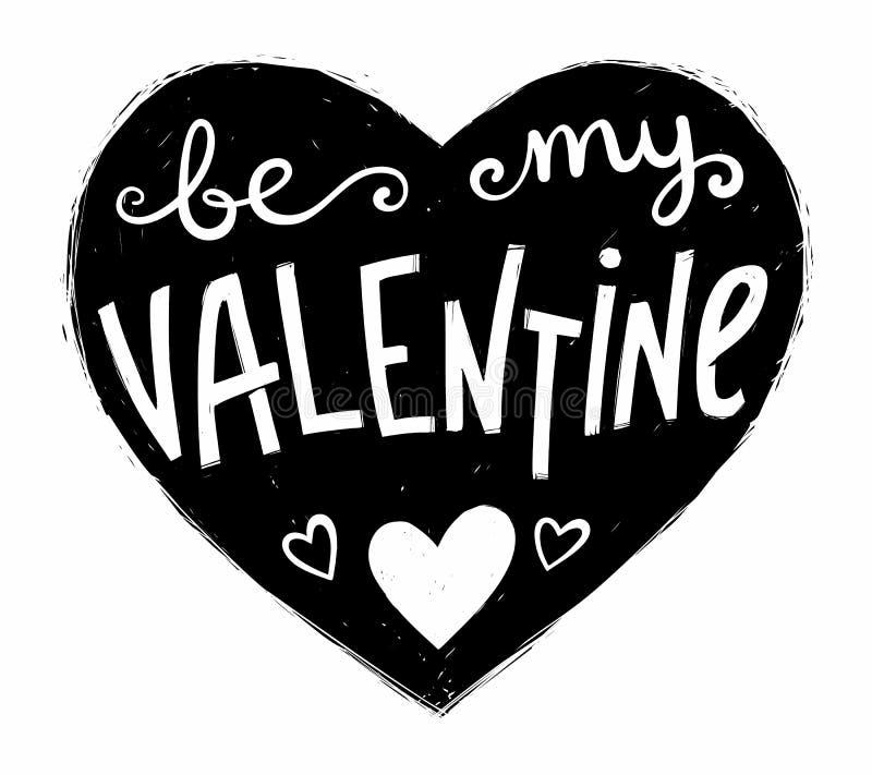 Schwarze Schmutzherzform mit dem weiße Hand gezeichneten Beschriften ist mein Valentinsgruß nach innen Vektorvalentinsgrußtagesgr lizenzfreie abbildung