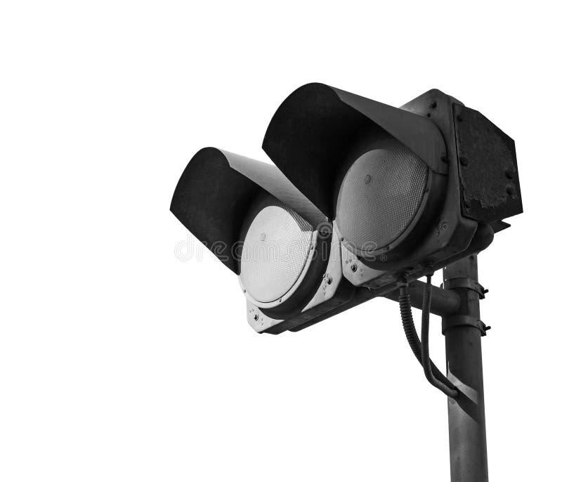 Schwarze schmutzige doppelte Ampeln schalteten weg von lokalisiert lizenzfreie stockfotografie