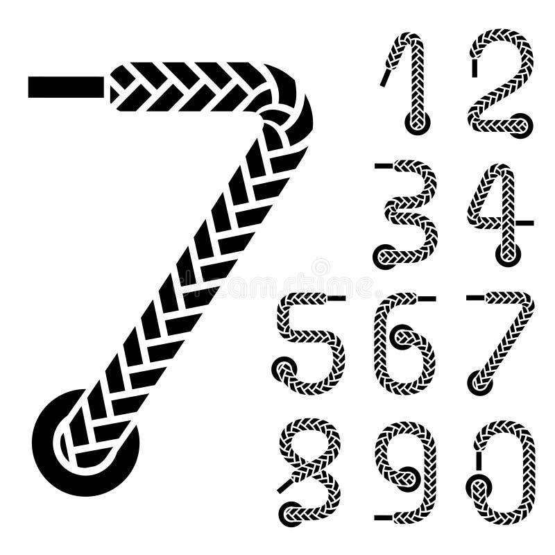 Schwarze Schnürsenkelzahlen lizenzfreie abbildung