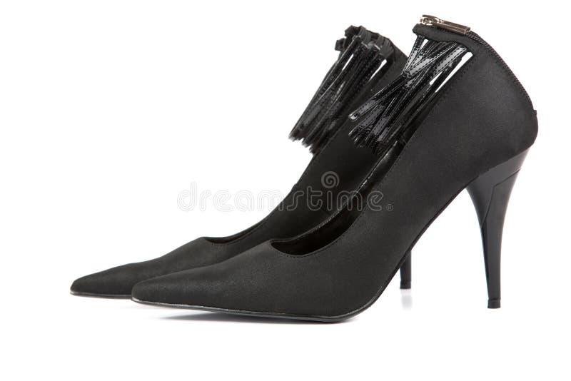Schwarze Schuhe der Frau stockfoto